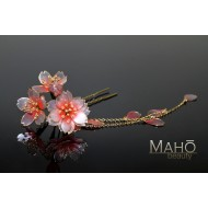 Cherry handmade JAPANESE KANZASHI hair comb Pink/Red Sakura