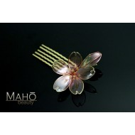Lovely handmade JAPANESE KANZASHI hair comb translucent Sakura blossoms