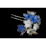 Exquisite handmade JAPANESE KANZASHI hair comb Blue Sakura bloom