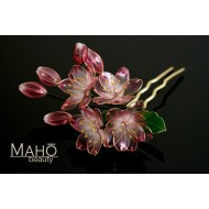 Exquisite handmade JAPANESE KANZASHI hair comb PINK Sakura bloom