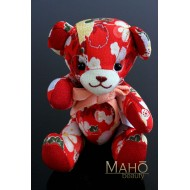 Cute Japanese kimono Chirimen teddy bear toy RED