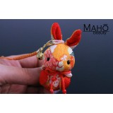 Little Japanese kimono USAGI bunny with cute ribbon orange