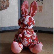 Japanese kimono Chirimen Rabbit – Usagi. Adorable design accessory red