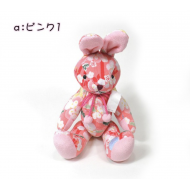 Japanese kimono Chirimen crepe Rabbit – Usagi: Adorable design toy Peach