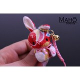 Little Japanese kimono USAGI bunny with cute ribbon red