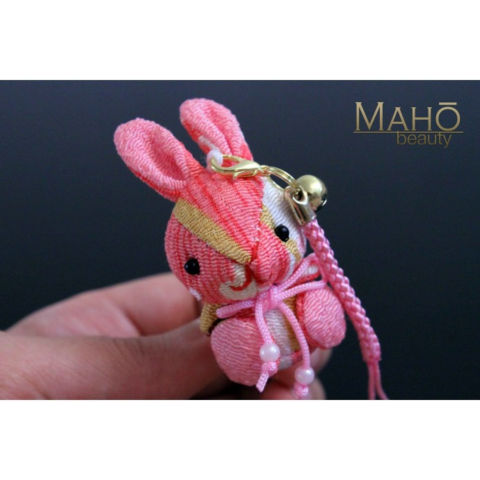 Cute Japanese kimono USAGI bunny rabbit with ribbon peach