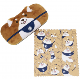 Chuken Mochi shiba inu glasses case and cleaner Japanese mascot dog しば