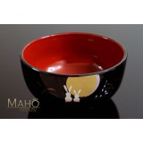 Japanese Yamanaka lacquerware bowl Tsukimi usagi bunnies and moon 月見うさぎ