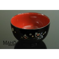 Yamanaka lacquerware Japanese bowl bunnies and Sakura blossoms