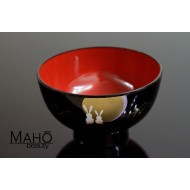 Japanese Yamanaka lacquerware bowl Tsukimi usagi bunnies and moon