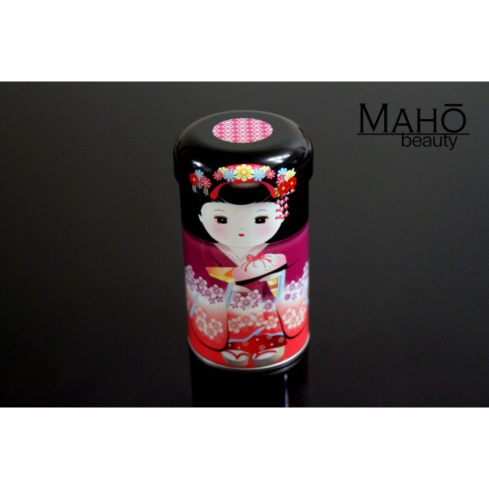 Decorative Japanese tea can Caddy Maiko Purple 20g Genmaicha
