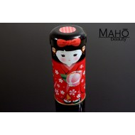 Decorative Japanese tea can Caddy Tamari girl RED 55g Genmaicha