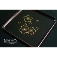 Made in Japan 30 cm glossy lacquer tray: GOLD Sakura cherry blossoms
