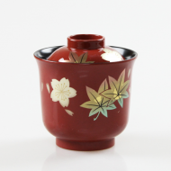 Echizen lacquerware Japanese cup bowl with cover: Maple and Sakura