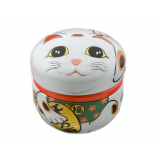 Decorative tea can Caddy box Container Maneki Neko 100g 招き猫 white