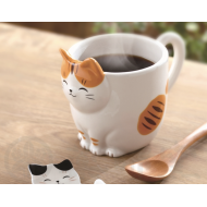 Adorable Japanese style coffee/tea cup mug Maneki neko fortune cat tora
