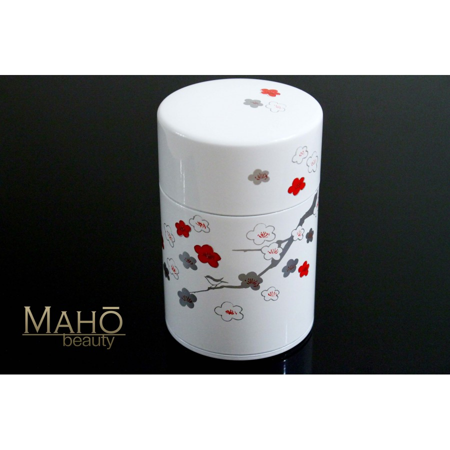 Decorative Made In Japan Steel Tea Can Caddy Plum And