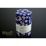 Decorative Japanese tea can Caddy Yuzen Washi origami Blue sakura 100g