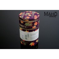 Decorative Japanese tea can Caddy Washi origami Maple 100g