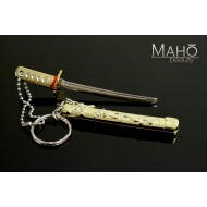 Miniature Japanese Samurai sword Katana with a key ring Golden Dragon