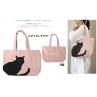 Black cat Canvas Carry Reusable Shopping Totte Bag with zipper