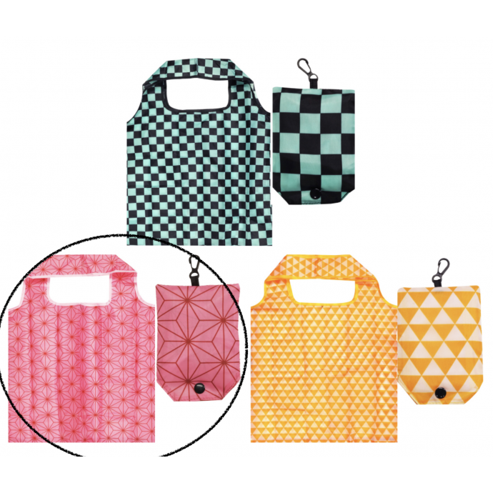 Japanese Reusable Shopping Totte Bag Asanoha Pink