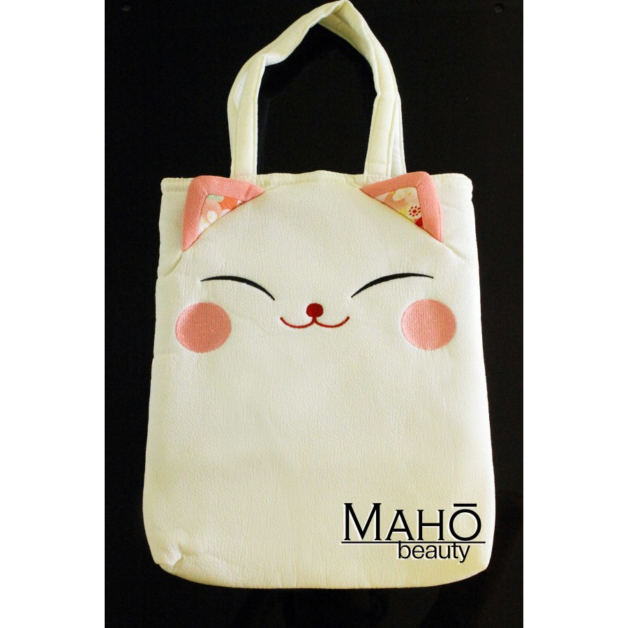 kimono Chirimen bag: Cute and stylish design accessory: White