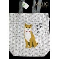 A4 Japanese Reusable Shopping Totte Bag wasabi Shibata san white