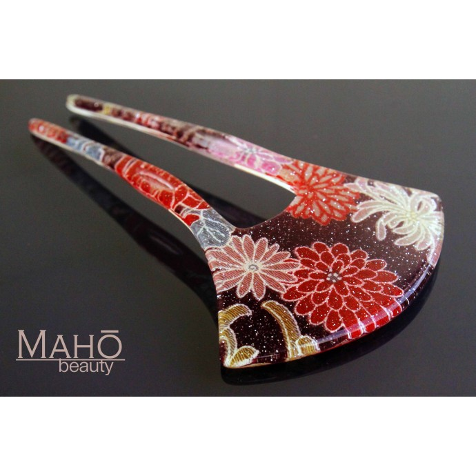 Beautiful JAPANESE hair accessory – ornamental KANZASHI HAIRPIN: real kimono in acrylic