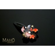 Cherry flower Japanese Kimono Pattern Hair clip black