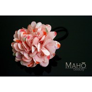 Beautiful Japanese Kimono Pattern Hair band gum Pink Dahlia
