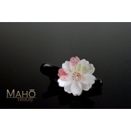 Cherry flower Japanese Kimono Pattern Hair clip white