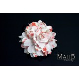 Beautiful Japanese Kimono Pattern Hair band gum White Dahlia flower