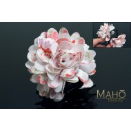 Charming Japanese Kimono Pattern Flower Hair clip white
