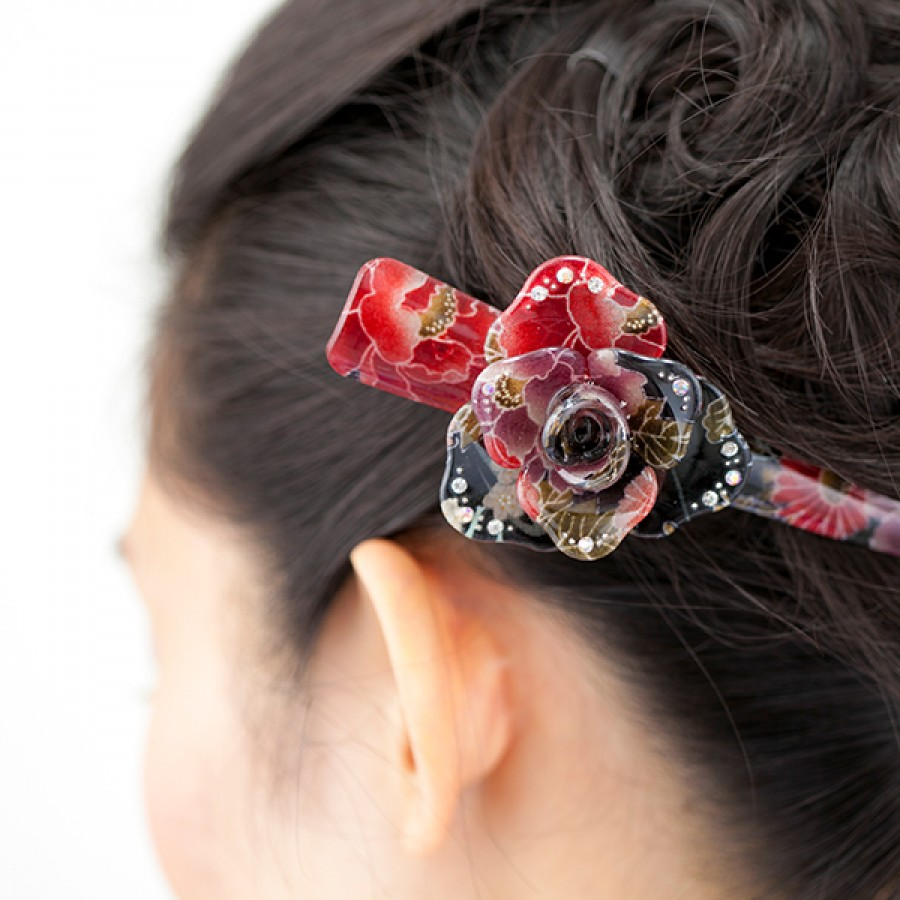 Glamorous Kimono Pattern Japanese Hair Clip Quot Rose Quot Red