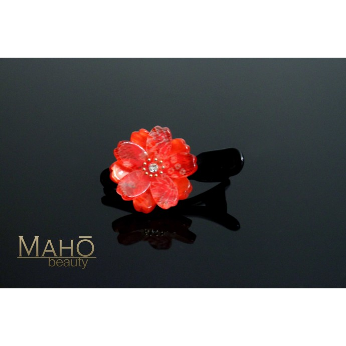 Cherry flower Japanese Kimono Pattern Hair clip red