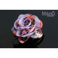 Charming Japanese Kimono Pattern Rose Hair clip violet