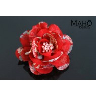 Adorable Japanese Kimono Pattern Rose Hair clip Red