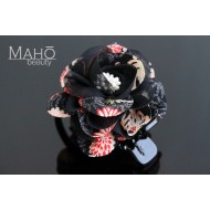 Charming Japanese Kimono Pattern Rose Hair clip black
