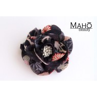 Adorable Japanese Kimono Pattern Rose Hair clip Black