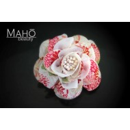 Adorable Japanese Kimono Pattern Rose Hair clip White