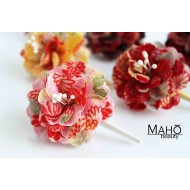 "JAPANESE hair accessory – ornamental hair clip: Glamorous kimono pattern flowers ""Dahlia"""