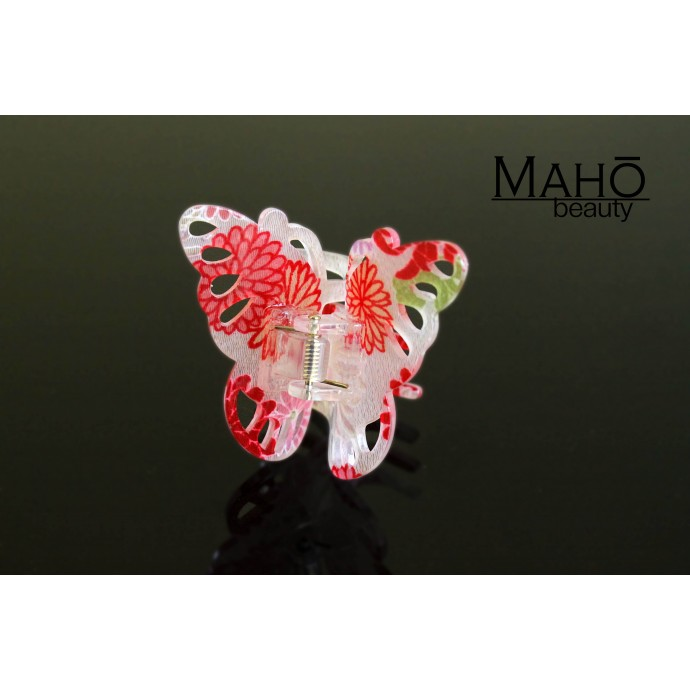 "JAPANESE hair accessory – ornamental hair clip: kimono pattern in transparent acrylic ""Butterfly"""
