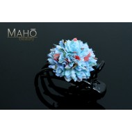 Cherry Blossoms Japanese Kimono Pattern Flower Hair clip Blue