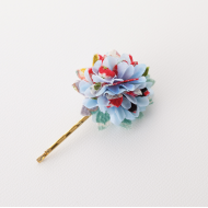 Blue flower Japanese Kimono Pattern chirimen Hair pin