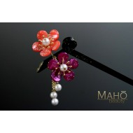 JAPANESE KANZASHI HAIRPIN: Plum tree blossoms pink purple