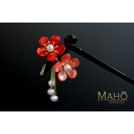 JAPANESE KANZASHI HAIRPIN: Plum tree blossoms pink red 二連梅