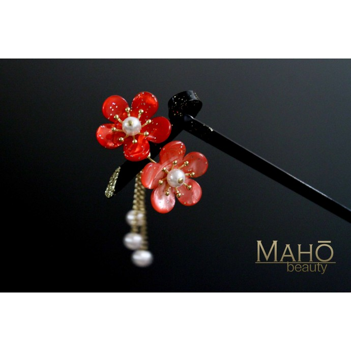 Japanese Kanzashi Hairpin Plum Tree Blossoms Pink Red 二連梅