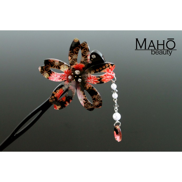 JAPANESE hair accessory - Modern Kanzashi hairpin. Sakura with bouncy petals. Black