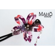 JAPANESE Kanzashi hairpin. Sakura with bouncy petals Purple